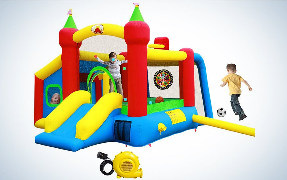WELLFUNTIME Inflatable Bounce House with Slide, Jumping Castle with Blower for Kids Play House with Wave Pool