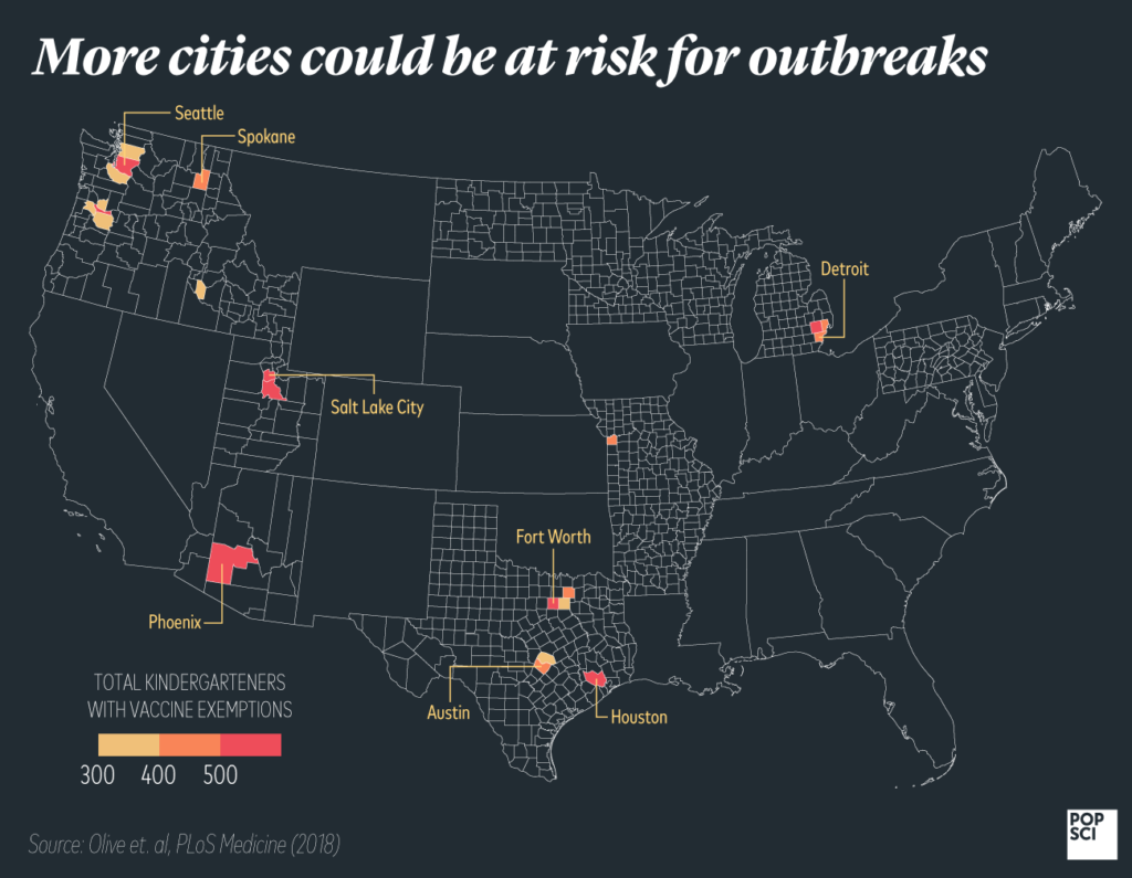 map of cities at risk for measles outbreaks