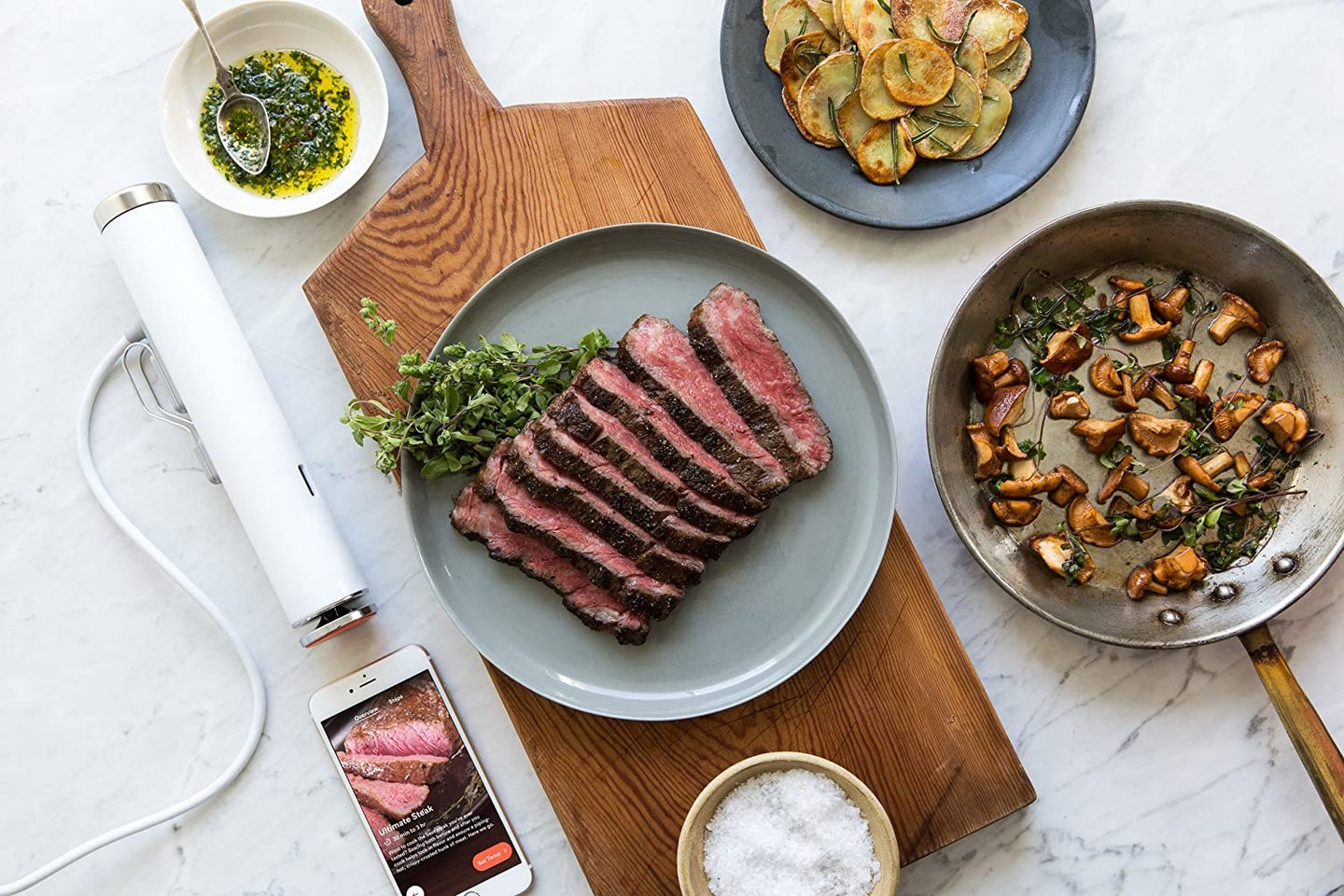 food on a table next to sous vide
