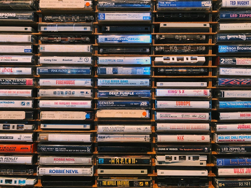 tapes in a rack