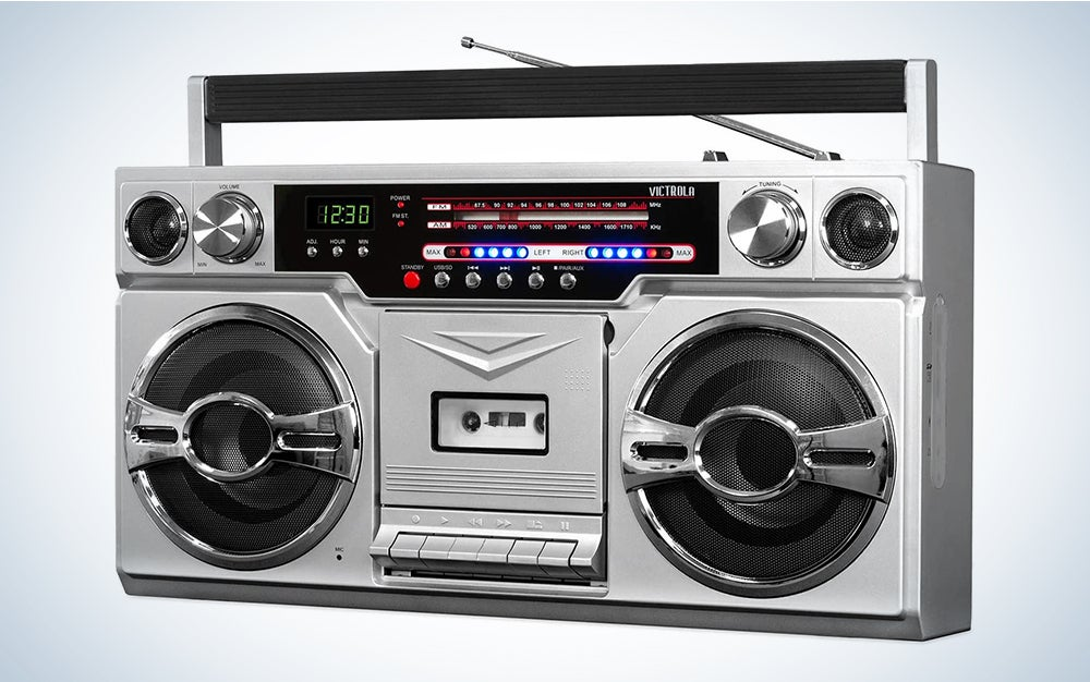 Victrola VBB-10-SLV 1980′s Bluetooth Boombox with Cassette Player and AM/FM Radio