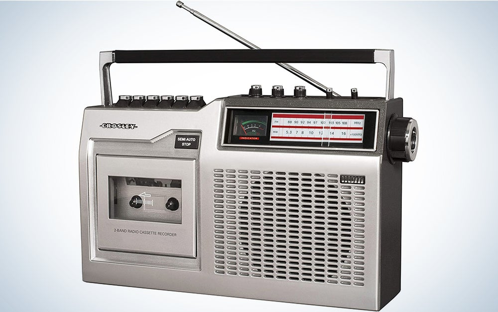 Crosley CT200B-SI Retro Portable Cassette Player with Bluetooth, AM/FM Radio, and Built-in Microphone