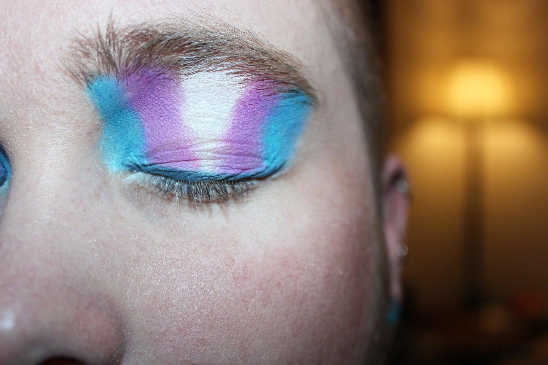 Trans pride eye makeup