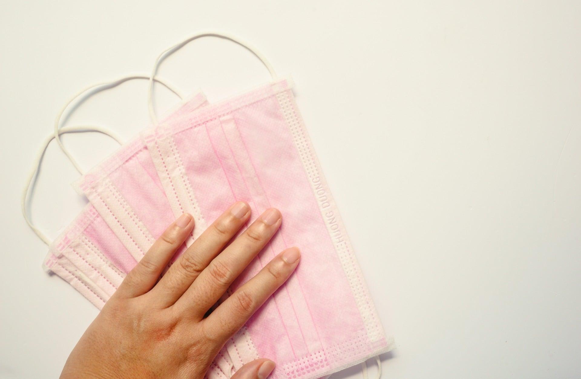 Pink face masks.