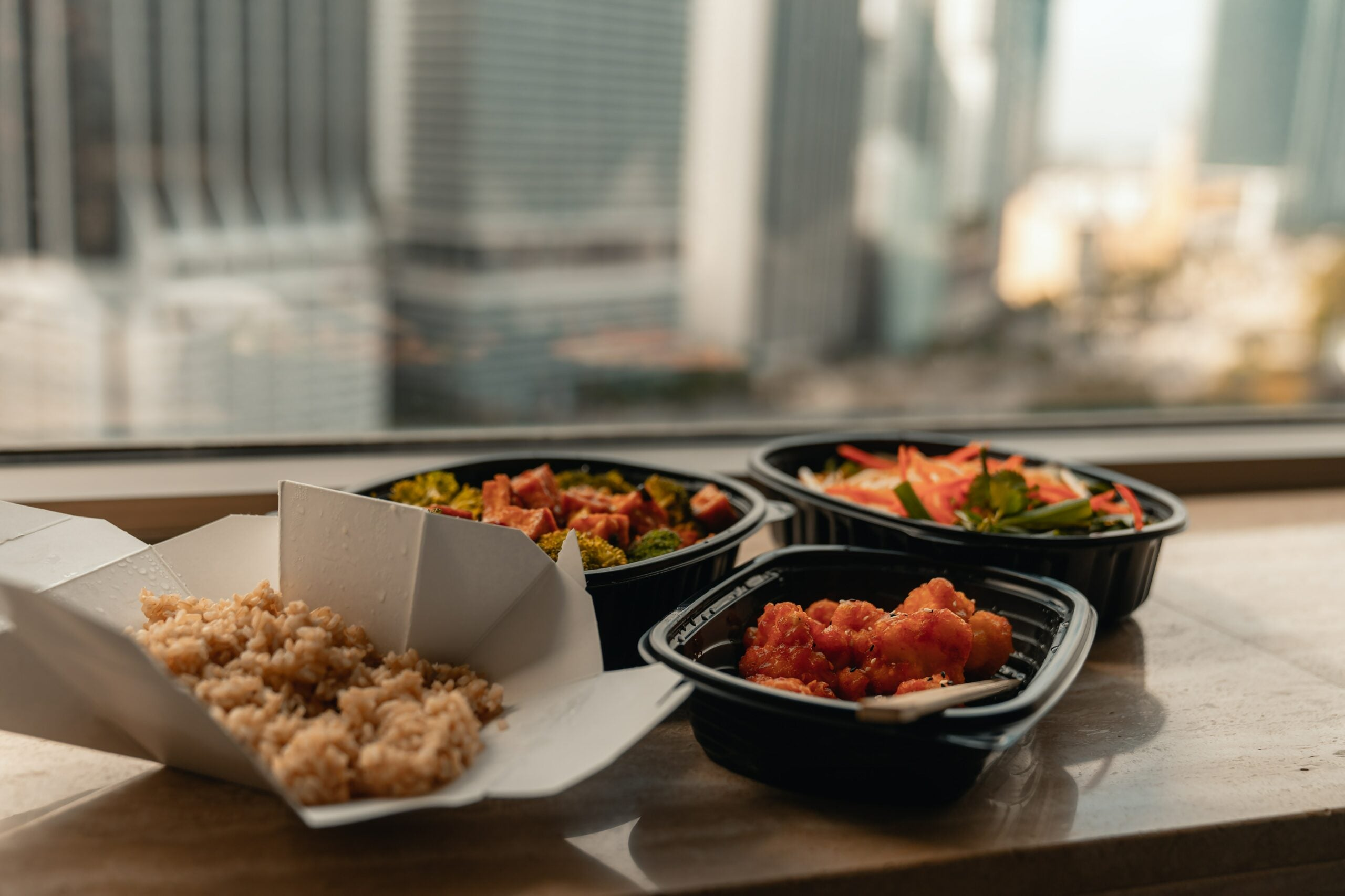 To-go food containers.