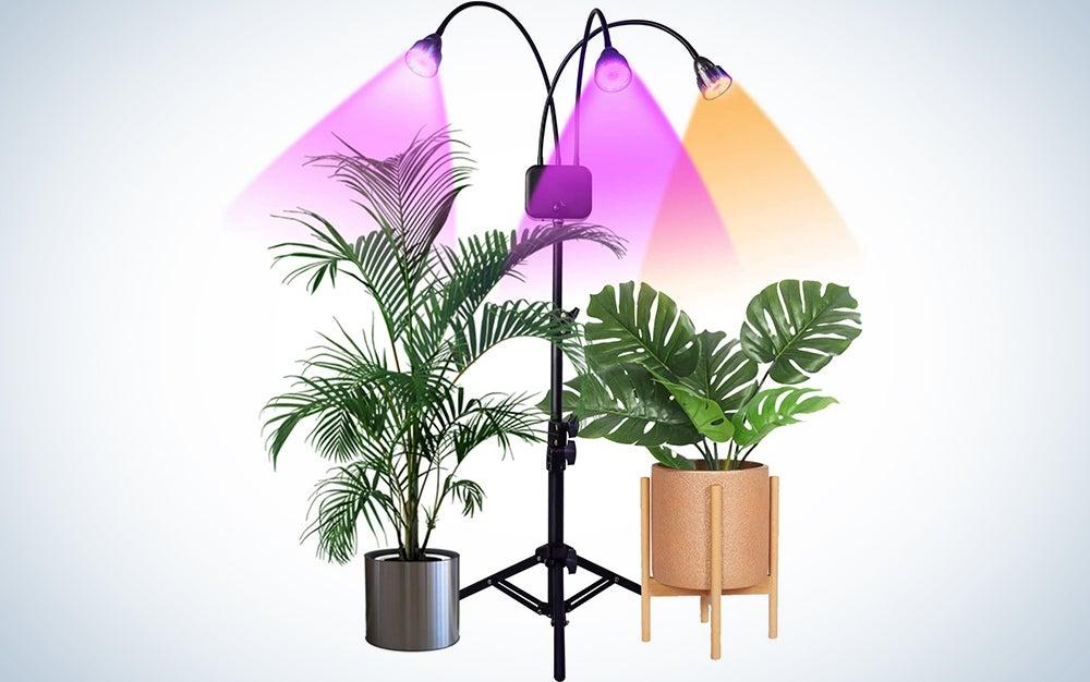 Juhefa Full Spectrum Tri-Head 60W LED Floor Plant Light for Indoor Plants