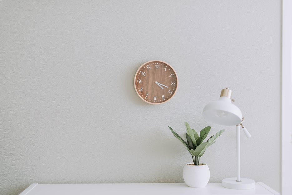 clock, plant, and lamp