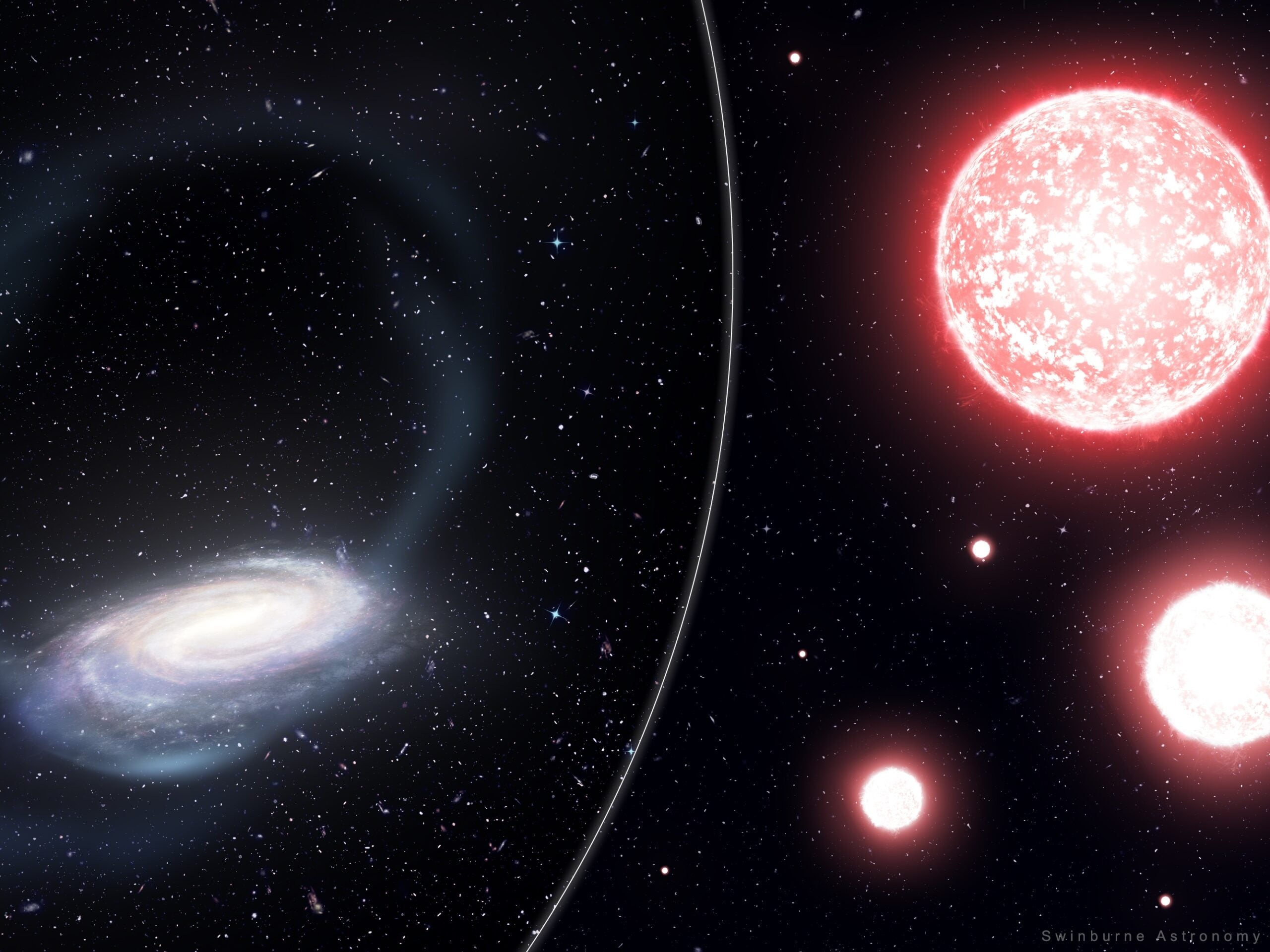 Artist's impression of the thin stream of stars torn from the Phoenix globular cluster, wrapping around the Milky Way (left). Astronomers targeted bright red giant stars (artist's impression, right) to measure the chemical composition of the disrupted Phoenix globular cluster.