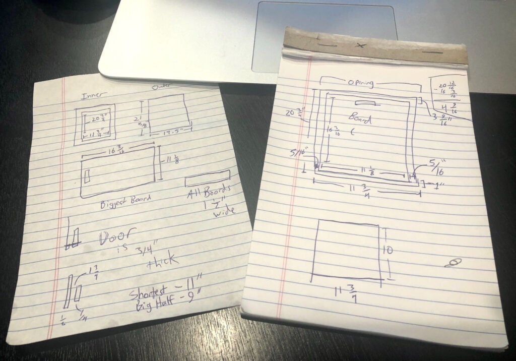 two sheets of paper with construction diagrams on them