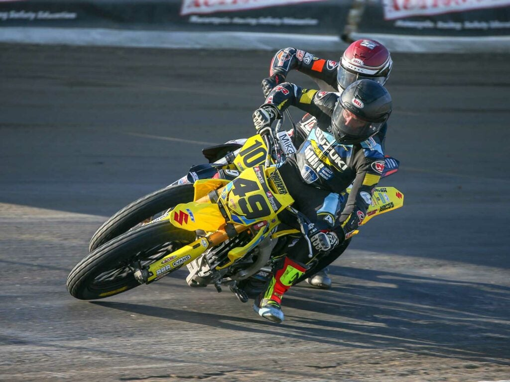 Chad Cose went down in qualifying, but picked up 2nd and 4th. Here he is leading Brandon Kitchen.
