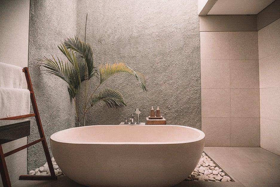 bathroom with fancy tub
