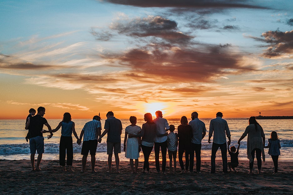 family on a beach