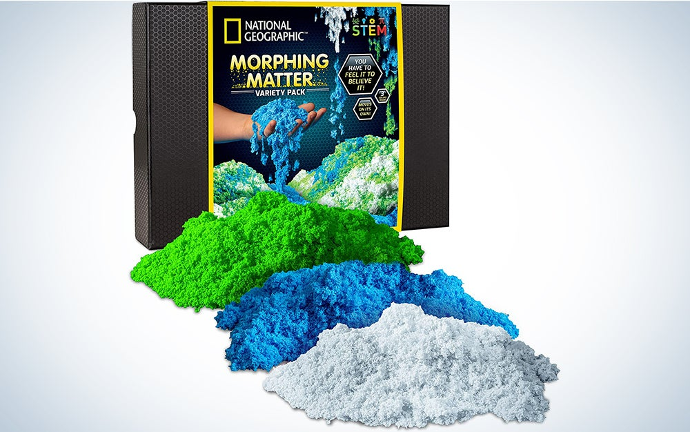 NATIONAL GEOGRAPHIC Morphing Matter Pack – Play Set Comes with 9 Cups of Morphing Matter in 3 Fun Colors, Reusable Storage Box