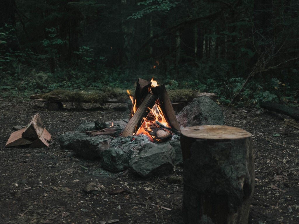 a campfire in the woods