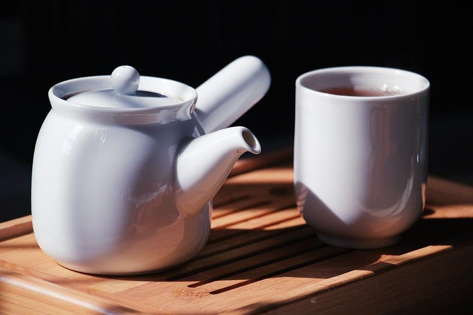 ceramic tea pot and mug