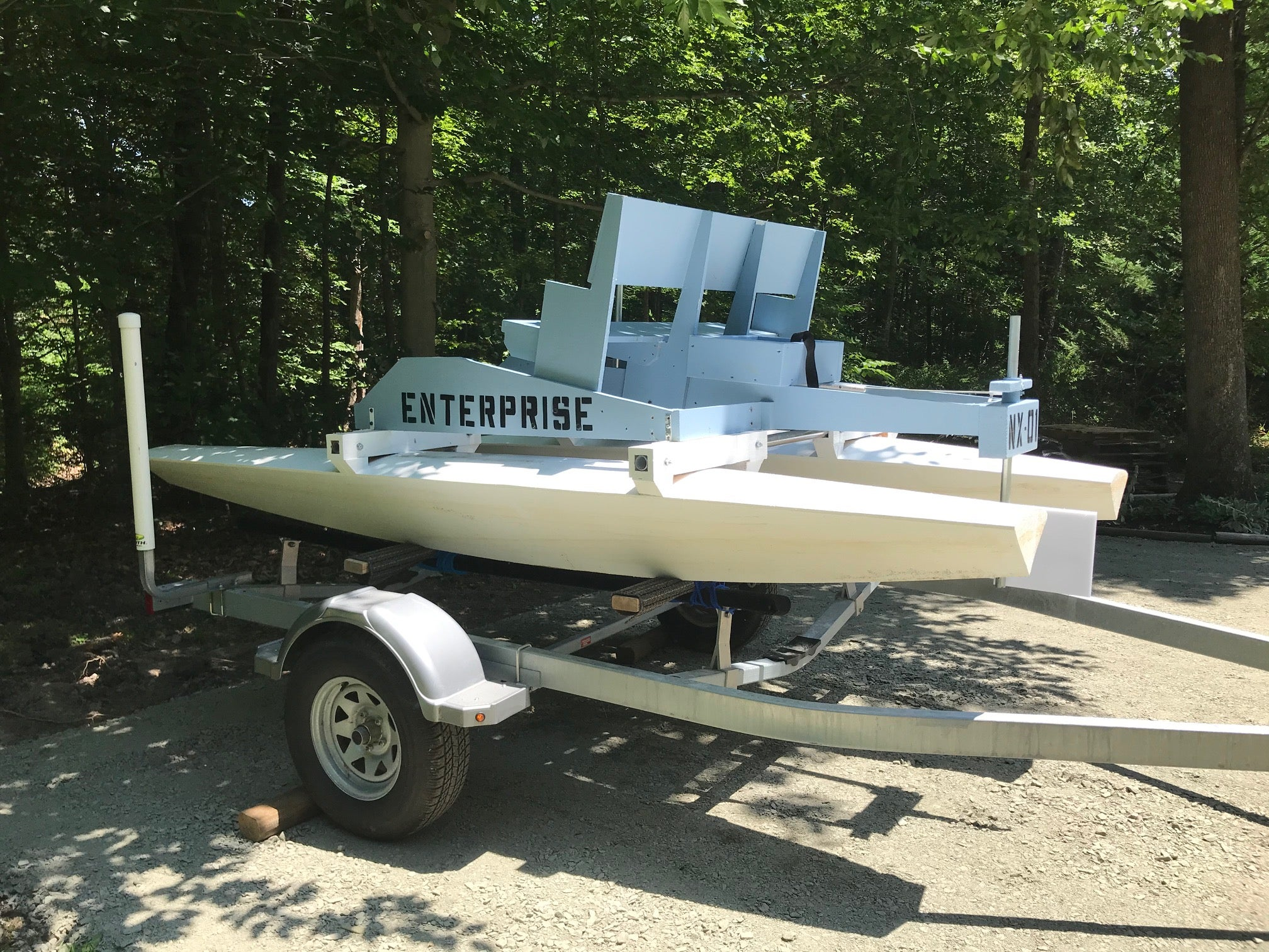 The finished boat hooked up to Riti's trailer