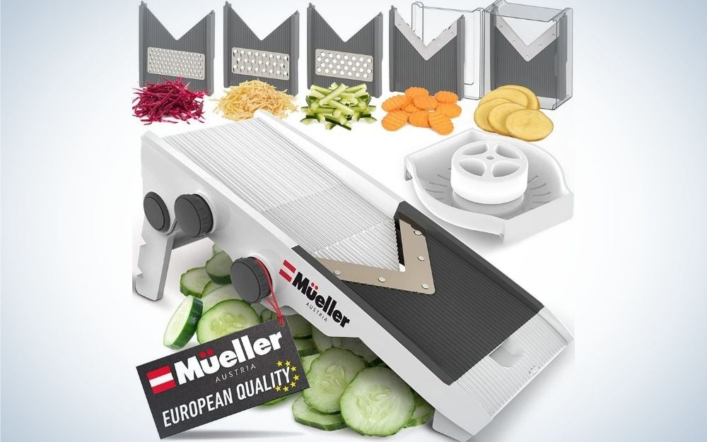 A multi blade adjustable mandoline cheese and vegetable slicer, cutter all of these demonstrated with different vegetables under them.