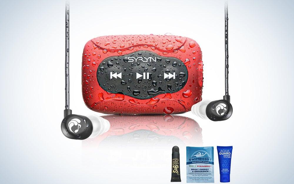 Swimbuds Flip Headphones and 8 GB SYRYN Waterproof MP3 Player