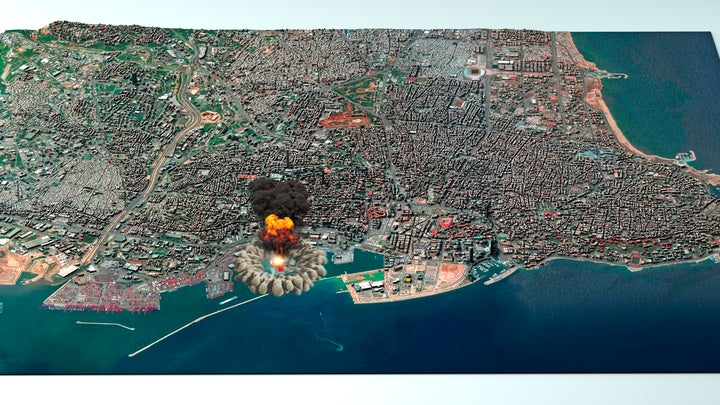 The blast at the Port of Beirut from August 4 seen on a rendered satellite map.