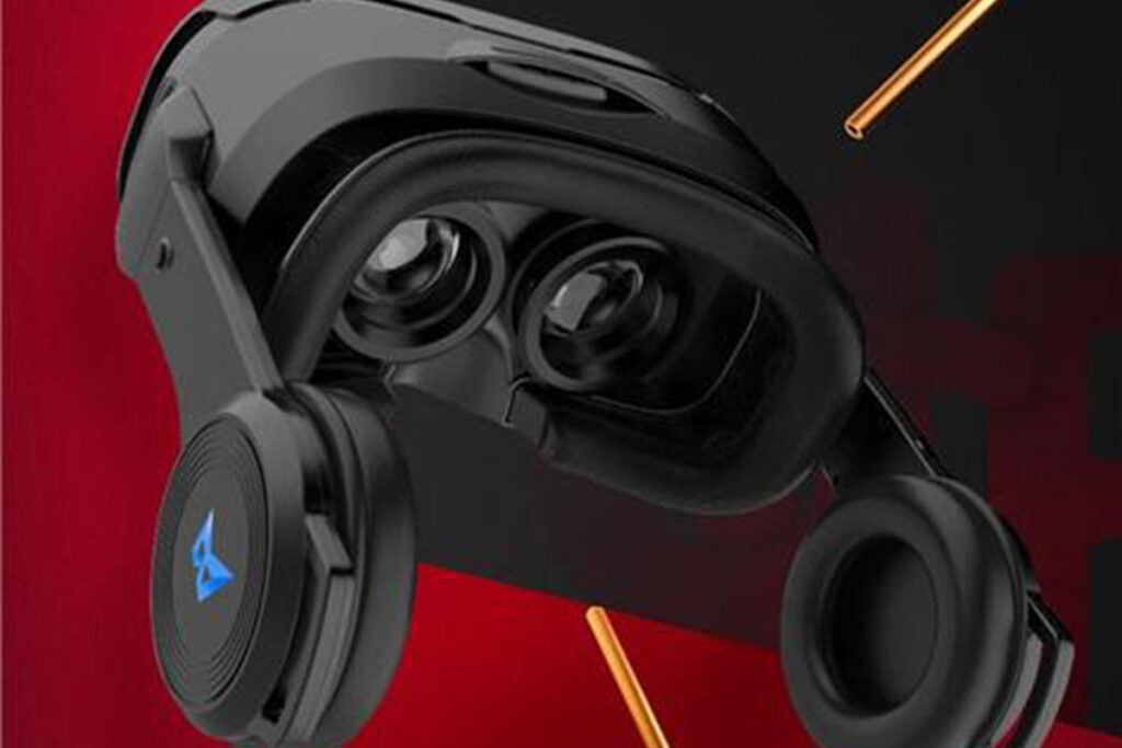 3D VR Headset with Built-In Stereo Headphones