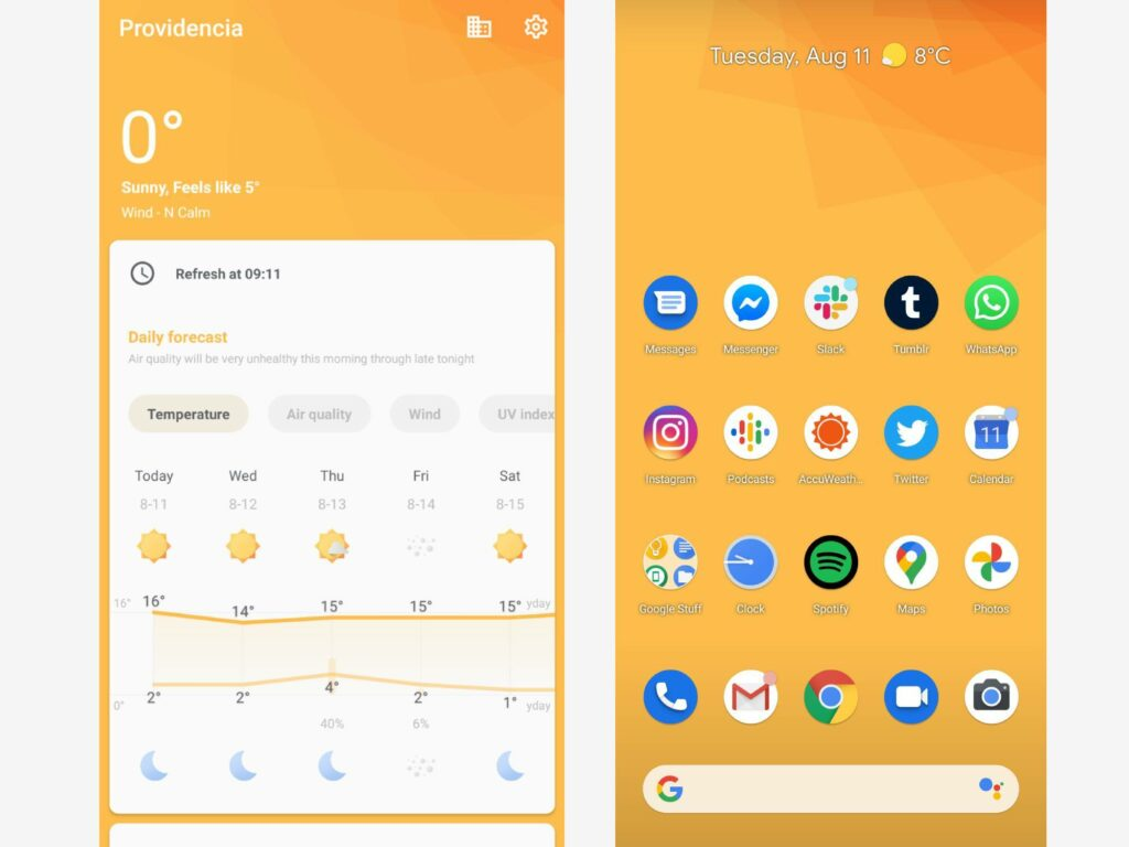 Geometric Weather's simple interface, which makes it one of the best weather apps on Android.