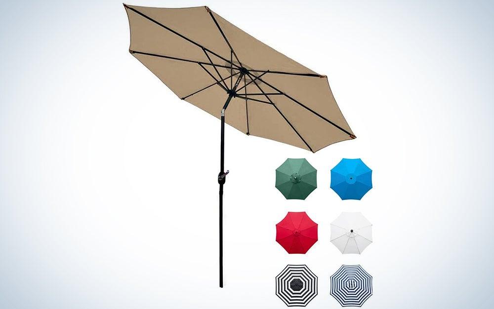 Sunnyglade 9′ Patio Umbrella Outdoor Table Umbrella with 8 Sturdy Ribs