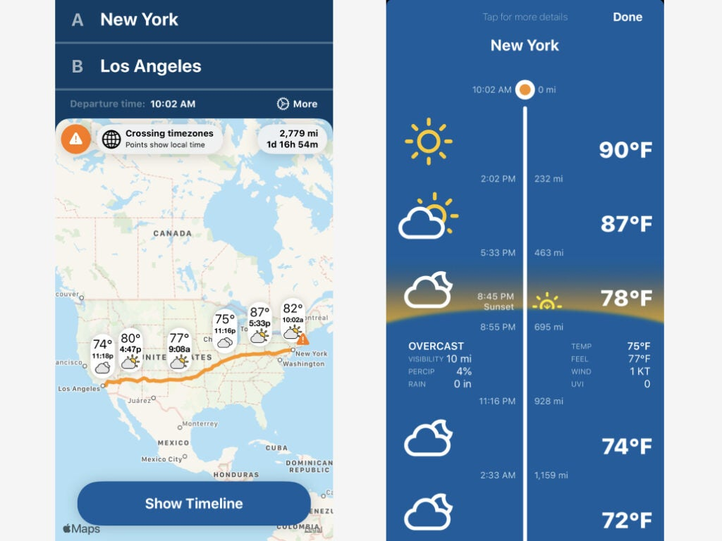 Weather on the Way's iOS interface, showing weather forecasts along a driving route from New York City to Los Angeles.