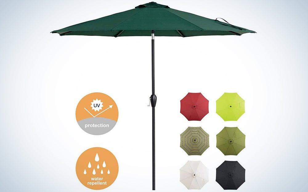 Tempera 9ft Patio Umbrella with Auto-Tilt and Crank Outdoor Garden Table Umbrella with 8 Sturdy Ribs