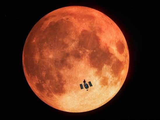 An artist's impression of the Hubble capturing a lunar eclipse during a blood moon.