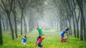 boys playing in grass