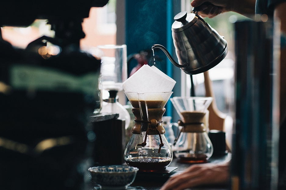 person making coffee in Chemex