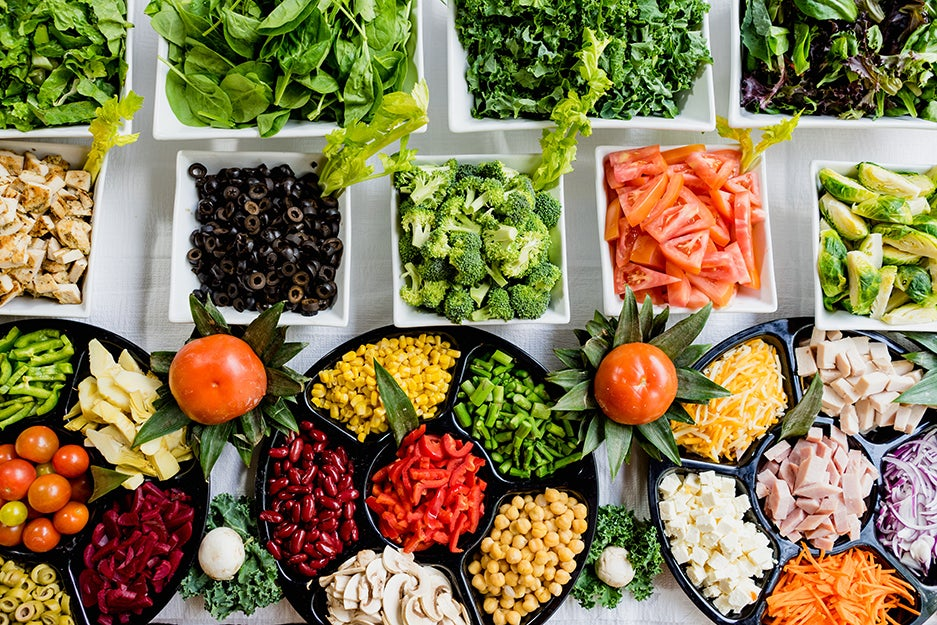 chopped vegetables on trays