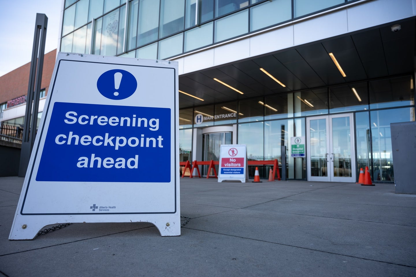 A COVID-19 screening checkpoint at Chinook Regional Hospital in Alberta, Canada