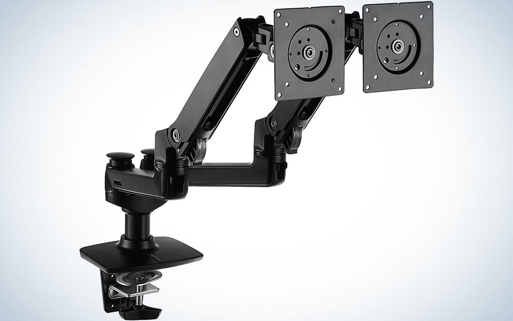 AmazonBasics Premium Dual Monitor Stand - Lift Engine Arm Mount, Aluminum