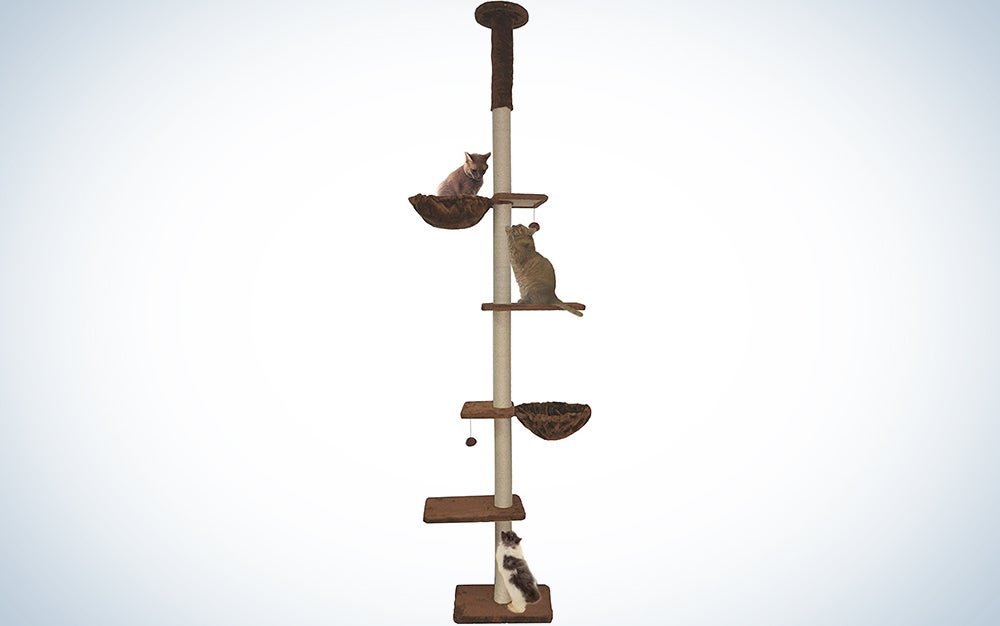 Roypet Upgraded Stable Adjustable 90″-116″ Tall Cat Climbing Tree