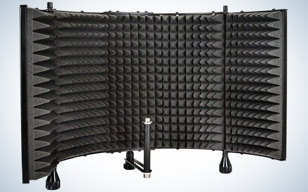 Monoprice Microphone Isolation Shield - Black - Foldable With 3/8″ Mic Threaded Mount, High Density Absorbing Foam Front & Vented Metal Back Plate - Stage Right