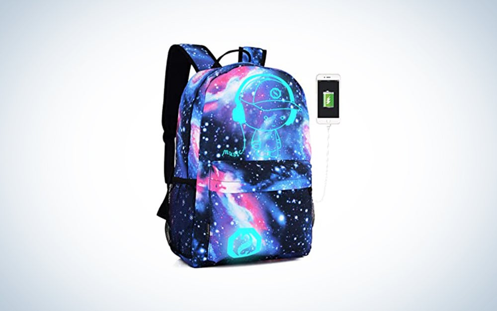 Lmeison Anime Cartoon Luminous Backpack with USB Charging Port and Lock & Pencil Case Daypack Shoulder Rucksack Laptop Bag