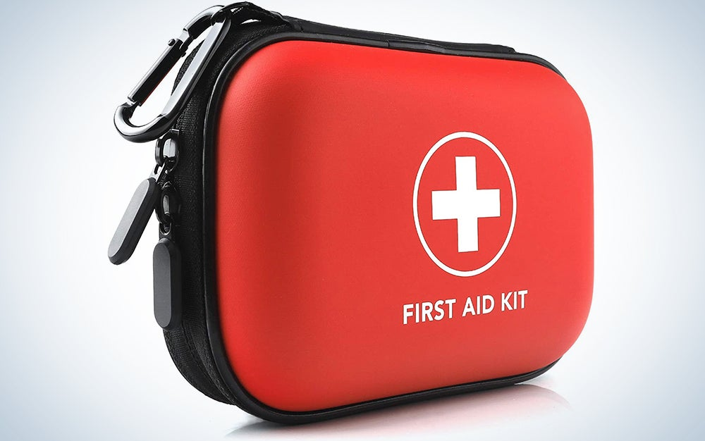 PRICARE Mini First Aid Kit, 95 Pieces Small Water-Resistant Hard Shell Case