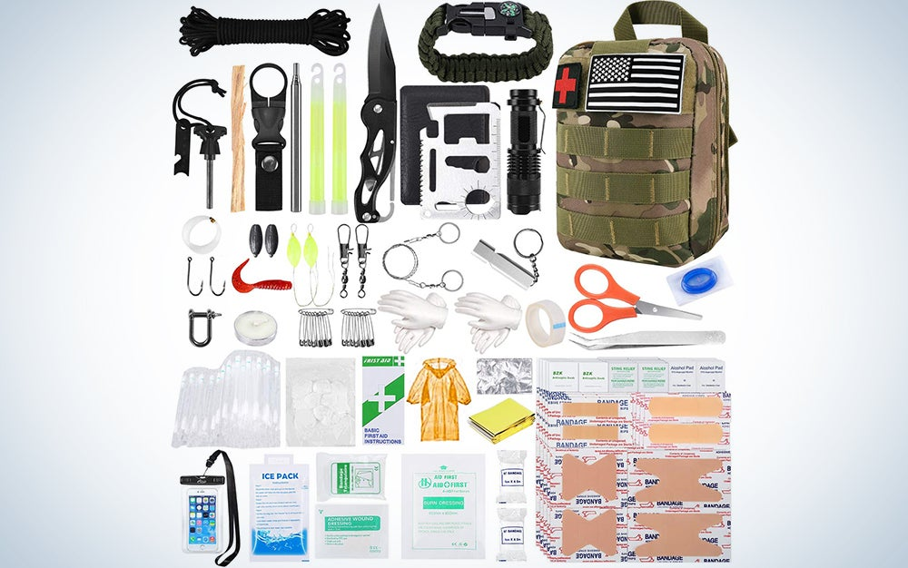 KOSIN Survival Gear and Equipment, 500 Pcs Survival First Aid kit