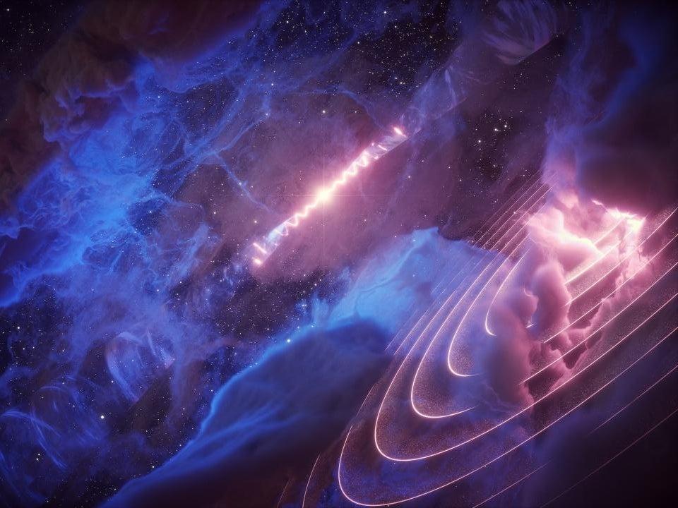 An artists interpretation of microquasar SS 433 and Fermi J1913+0515.