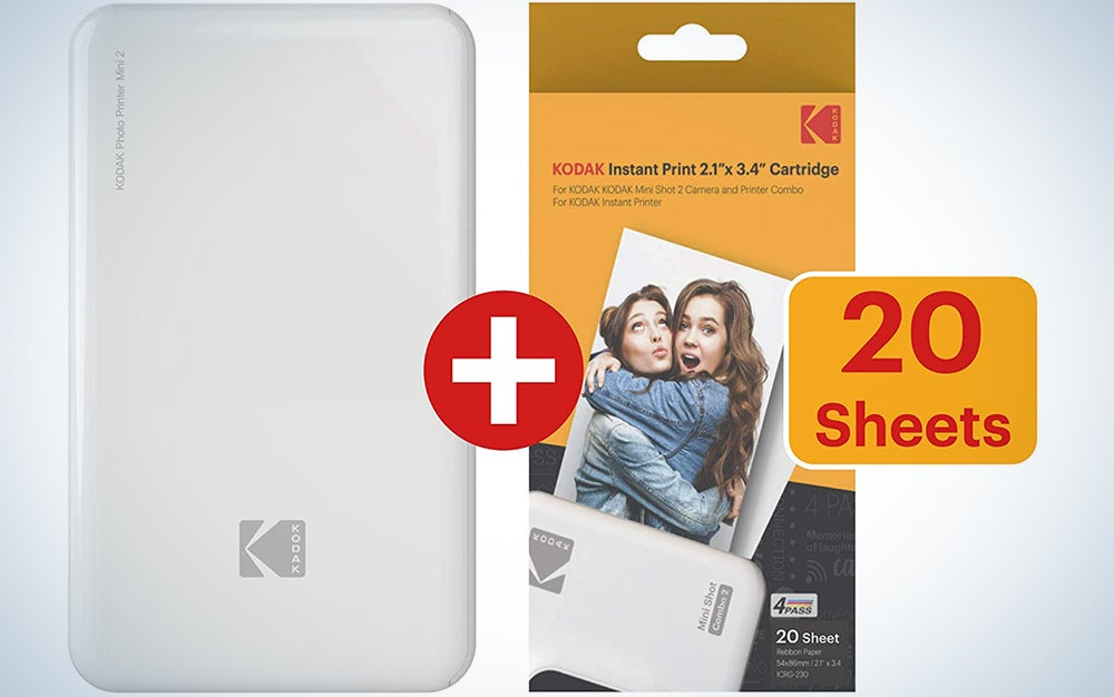 KODAK Mini 2 HD Wireless Portable Mobile Instant Photo Printer Compatible w/iOS & Android Devices (White) w/ 20 Pack Paper and Color Ink Cartridge Refill