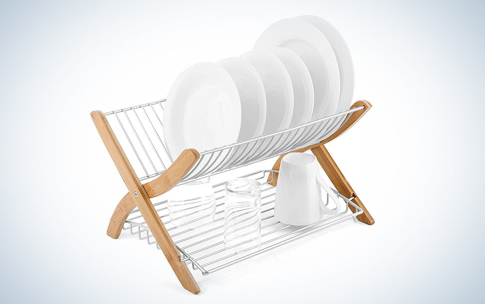 Umbra, Natural/Nickel Stack Folding Drying Dish Rack with Built in Flat Bottom Tray