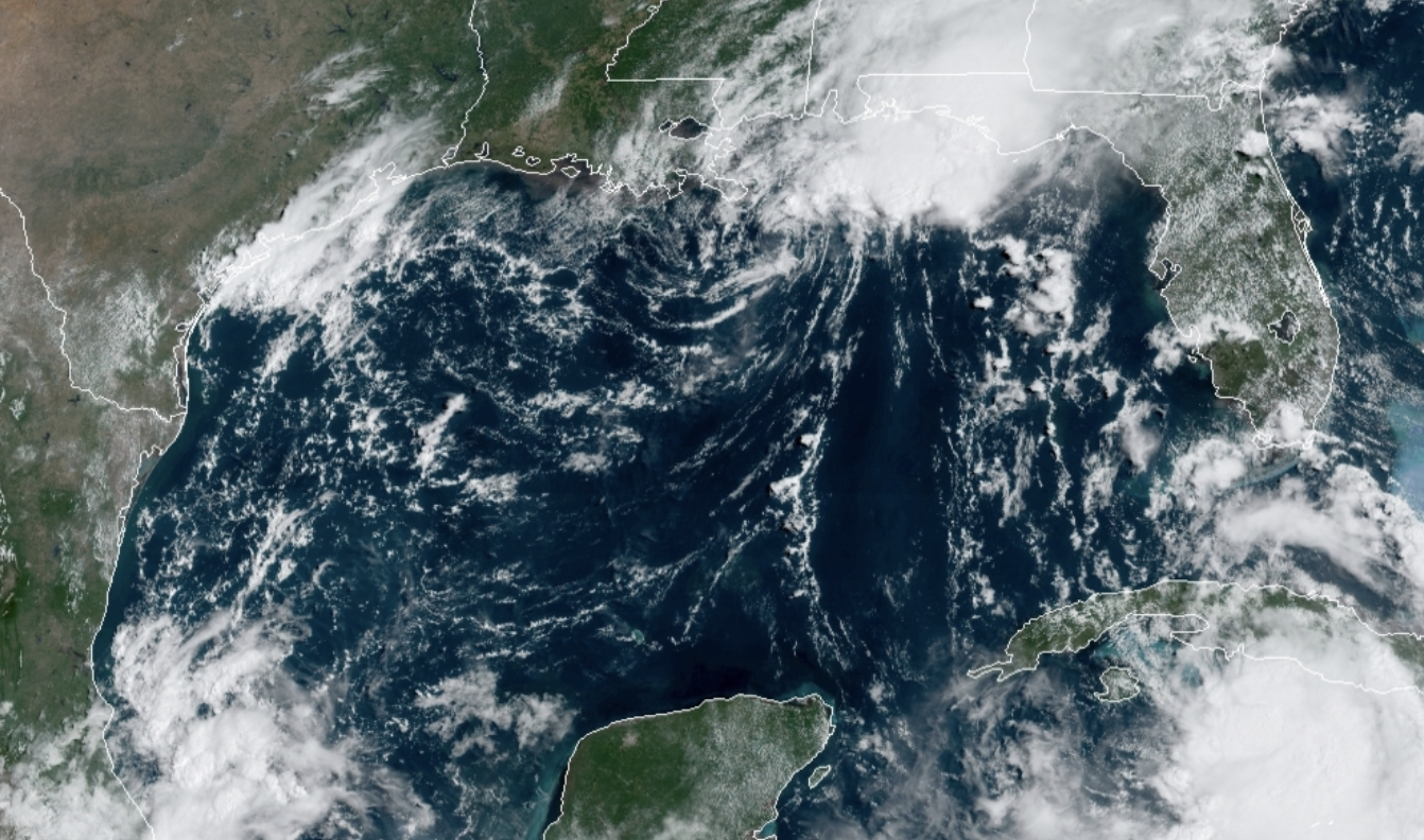 a satellite image of storms approaching the US