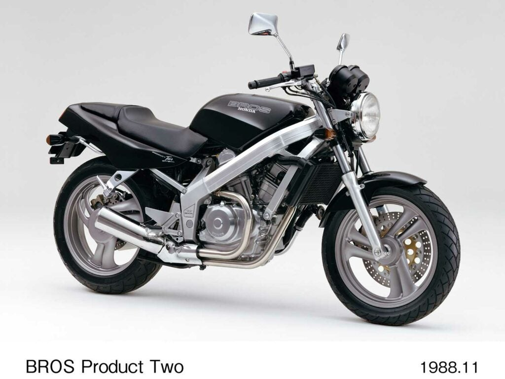 "In Japan, the NT650 carried the model name ""Bros,"" not Hawk GT. There's probably a joke in there somewhere."