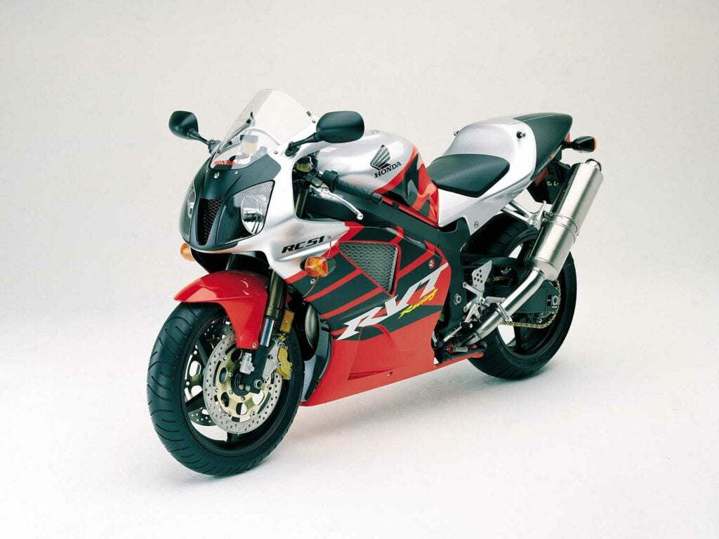 Pictured: 2002 Honda RC51. From the era of great V-twin racebikes.