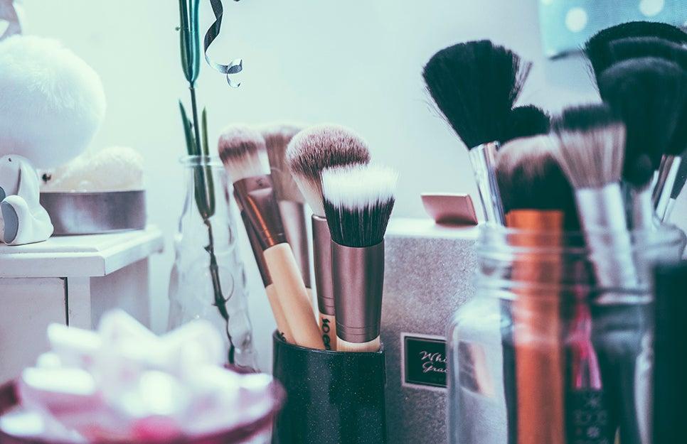 makeup in a bathroom