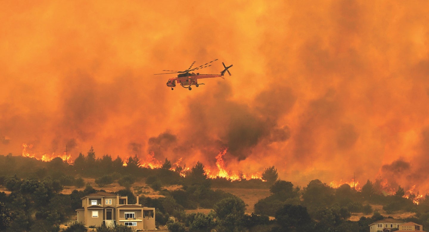 Greece fires helicopter