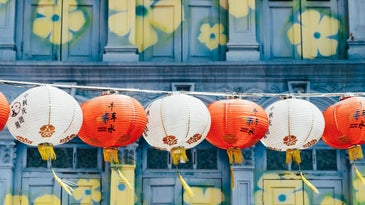 Chinese paper lanterns in front of a blue and yellow floral mural