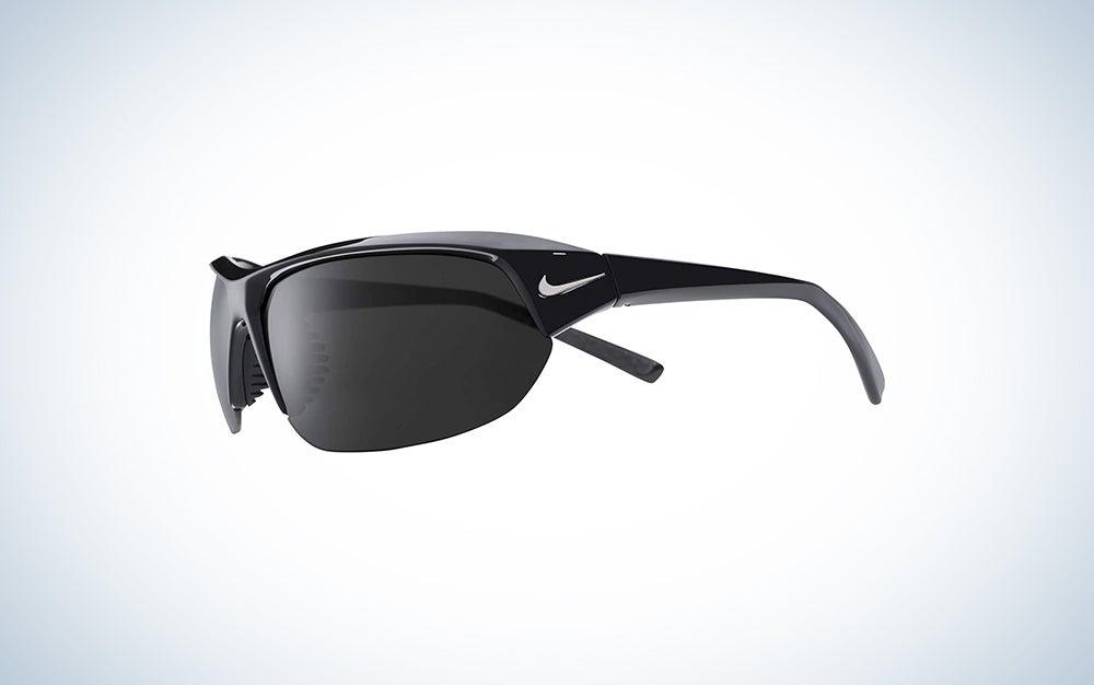 Nike Skylon Ace P Polarized Rectangular Sunglasses, Shiny Black/Silver, 69 mm