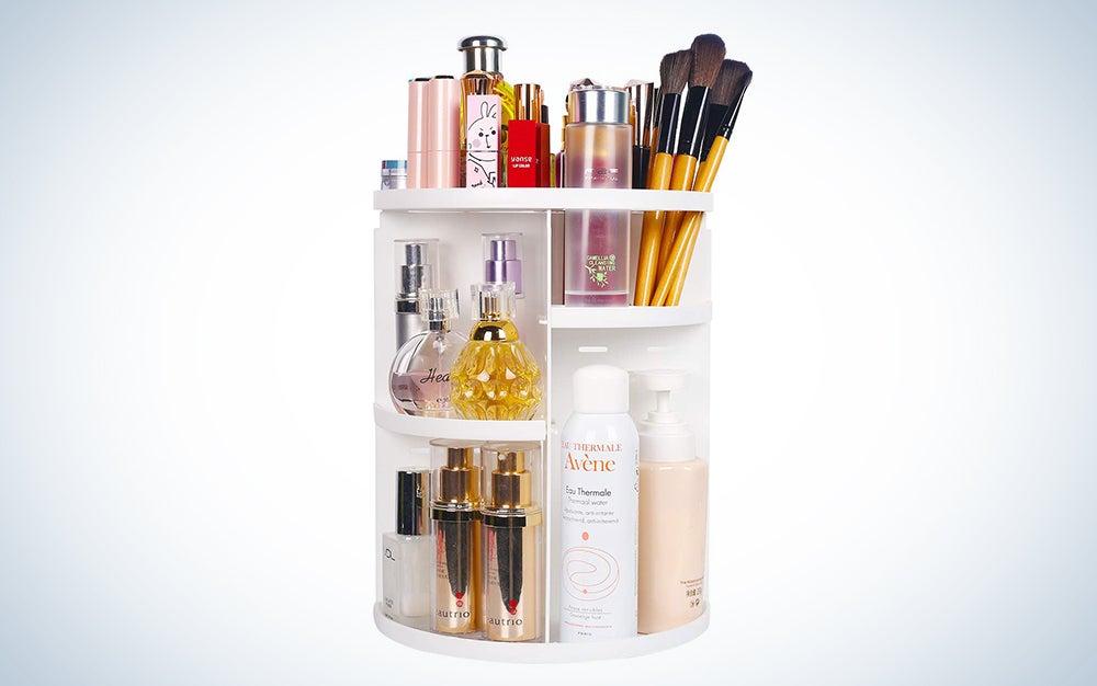 sanipoe 360 Rotating Makeup Organizer, DIY Adjustable Makeup Carousel Spinning Holder Storage Rack, Large Capacity Make up Caddy Shelf Cosmetics Organizer Box, Great for Countertop
